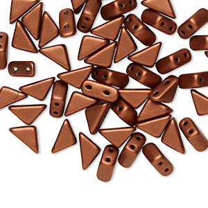bead, tango™, czech pressed glass, opaque matte copper, 8x6x6mm triangle with (2) 0.7-0.8mm holes. sold per 10-gram pkg, approximately 65 beads.