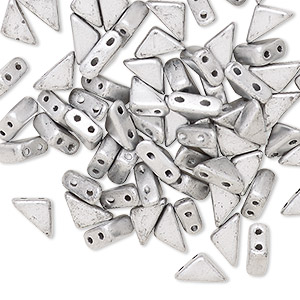 bead, tango™, czech pressed glass, opaque matte silver, 8x6x6mm triangle with (2) 0.7-0.8mm holes. sold per 10-gram pkg, approximately 65 beads.