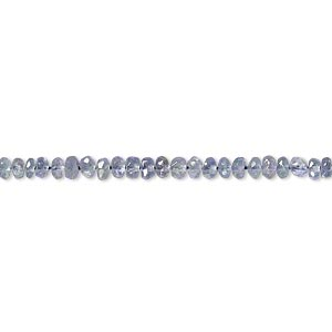 bead, tanzanite (heated), 2x1mm-3x2mm hand-cut faceted rondelle, b grade, mohs hardness 6 to 7. sold per 16-inch strand.