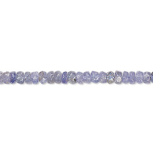 bead, tanzanite (heated), 4x2mm-5x3mm hand-cut faceted rondelle, c+ grade, mohs hardness 6 to 7. sold per 8-inch strand.