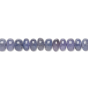 bead, tanzanite (heated), 7x4mm-8x5mm hand-cut rondelle, c grade, mohs hardness 6 to 7. sold per 8-inch strand.