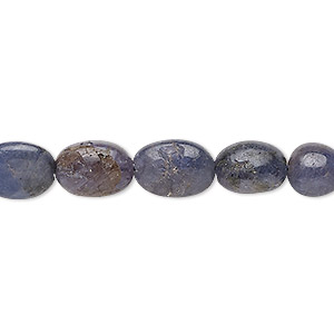 bead, tanzanite (heated), 7x6mm-15x10mm graduated hand-cut puffed oval, c- grade, mohs hardness 6 to 7. sold per 7-inch strand.