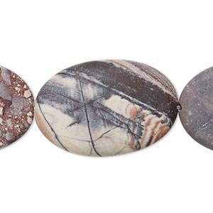 bead, terra rosa jasper (natural), matte, 30x20mm flat oval, b grade, mohs hardness 6-1/2 to 7. sold per 16-inch strand.