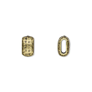 bead, tierracast, antique brass-plated pewter (tin-based alloy), 10x5.5mm flattened hammered barrel with 6x2mm hole. sold per pkg of 2.