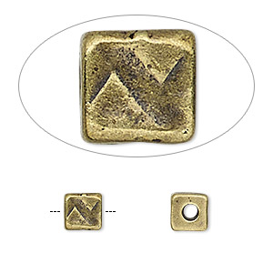 bead, tierracast, antique brass-plated pewter (tin-based alloy), 6x6mm textured cube with 2mm hole. sold per pkg of 2.
