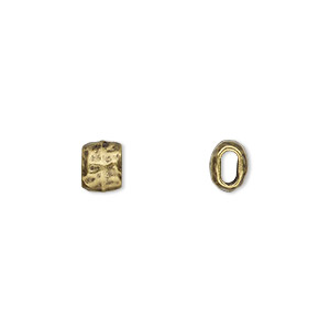 bead, tierracast, antique brass-plated pewter (tin-based alloy), 7x5.5mm flattened hammered barrel with 4x2mm hole. sold per pkg of 2.