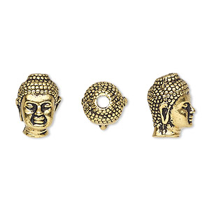 bead, tierracast, antique gold-plated pewter (tin-based alloy), 13.5x9.5mm buddha head with 2.5mm hole. sold individually.