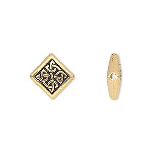bead, tierracast, antique gold-plated pewter (tin-based alloy), 13x13mm double-sided diamond with celtic knot. sold per pkg of 2.