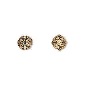 bead, tierracast, antique gold-plated pewter (tin-based alloy), 8mm round with spirals and dots. sold per pkg of 2.