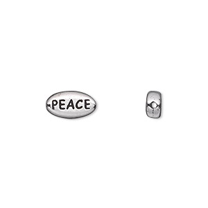 bead, tierracast, antique rhodium-plated pewter (tin-based alloy), 11x6mm double-sided flat oval with peace. sold per pkg of 2.