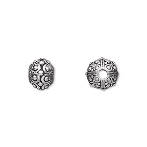 bead, tierracast, antique silver-plated pewter (tin-based alloy), 10x7.5mm beaded rondelle with swirls and 2.5mm hole. sold individually.
