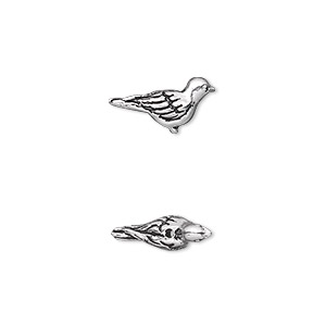 bead, tierracast, antique silver-plated pewter (tin-based alloy), 14.5x7mm 3d paloma bird. sold per pkg of 2.