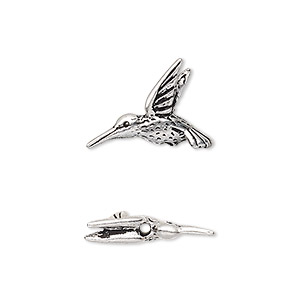 bead, tierracast, antique silver-plated pewter (tin-based alloy), 19x14mm 3d hummingbird. sold per pkg of 2.