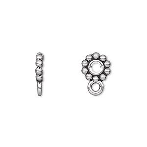 bead, tierracast, antique silver-plated pewter (tin-based alloy), 9x2mm beaded rondelle with loop, 2.5mm hole. sold per pkg of 2.