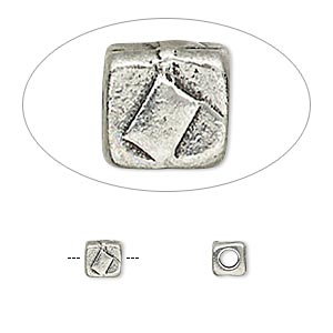 bead, tierracast, antiqued pewter (tin-based alloy), 5x5mm textured cube with 2mm hole. sold per pkg of 4.
