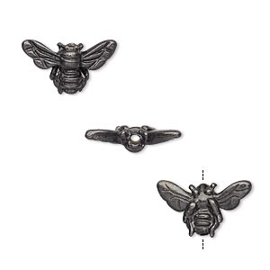 bead, tierracast, black-plated pewter (tin-based alloy), 15.5x9mm honeybee. sold per pkg of 2.
