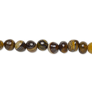 bead, tiger iron and tiger zebra iron (natural), small pebble, mohs hardness 7. sold per 8-inch strand, approximately 30 beads.