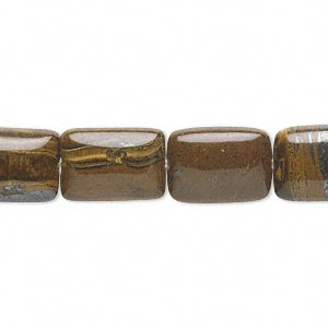 bead, tiger iron (natural), 14x10mm rectangle, b grade, mohs hardness 7. sold per 16-inch strand.