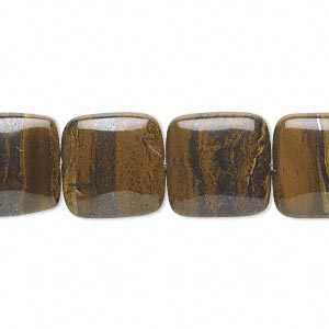 bead, tiger iron (natural), 14x14mm flat square, b grade, mohs hardness 7. sold per 16-inch strand.