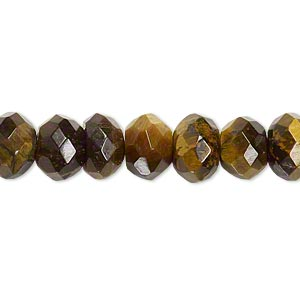 bead, tigereye (natural), 10x7mm faceted rondelle, b grade, mohs hardness 7. sold per 16-inch strand.