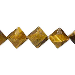bead, tigereye (natural), 11x11mm faceted flat diamond, b grade, mohs hardness 7. sold per 16-inch strand.