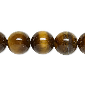bead, tigereye (natural), 12mm round, b grade, mohs hardness 7. sold per 16-inch strand.