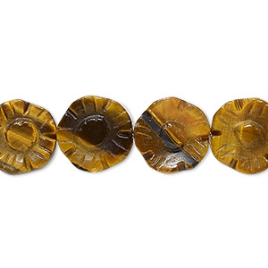 bead, tigereye (natural), 12x12x5mm carved flower, b grade, mohs hardness 7. sold per 16-inch strand.
