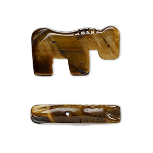 bead, tigereye (natural), 24x13mm hand-cut horse, b grade, mohs hardness 7. sold per pkg of 2.