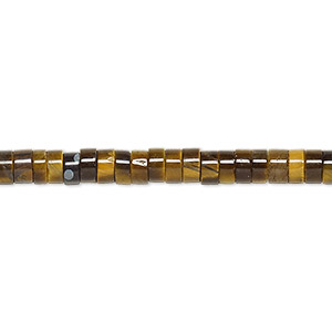 bead, tigereye (natural), 4x2mm heishi, b grade, mohs hardness 7. sold per 16-inch strand.
