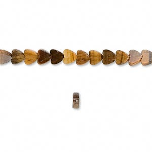 bead, tigereye (natural), 4x4mm flat heart, b grade, mohs hardness 7. sold per 16-inch strand.