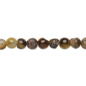 bead, tigereye (natural), 6-7mm round, d grade, mohs hardness 7. sold per 15-inch strand.