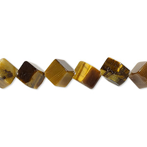 bead, tigereye (natural), 6x6mm diagonally drilled cube, b grade, mohs hardness 7. sold per 16-inch strand.