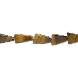 bead, tigereye (natural), 7x7x5mm-11x11x6mm hand-cut flat triangle, d grade, mohs hardness 7. sold per 14-inch strand.