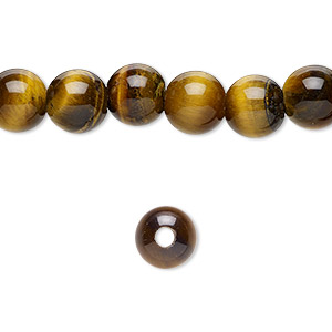 bead, tigereye (natural), 8mm round with 2-2.5mm hole, b grade, mohs hardness 7. sold per pkg of 10.