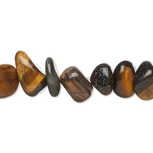 bead, tigereye (natural), large chip and small to extra-large pebble, mohs hardness 7. sold per 15-inch strand.