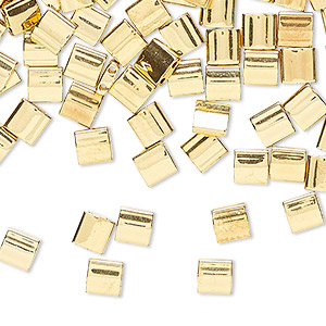 bead, tila, glass, metallic 24kt gold finish, (tl191), 5mm square with (2) 0.8mm holes. sold per 10-gram pkg.