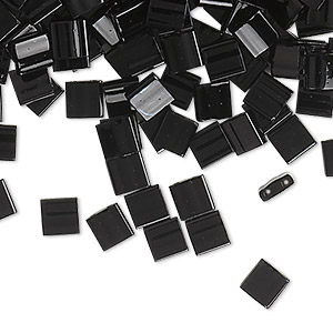 bead, tila, glass, opaque black, (tl401), 5mm square with (2) 0.8mm holes. sold per 250-gram pkg.