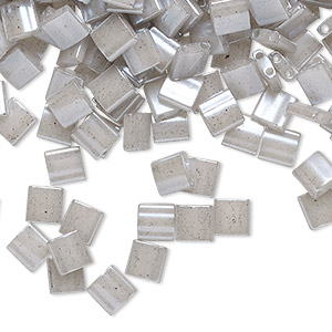 bead, tila, glass, opaque ceylon light grey, (tl526), 5mm square with (2) 0.8mm holes. sold per 40-gram pkg.