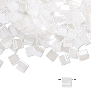 bead, tila, glass, opaque ceylon pearl white, (tl511), 5mm square with (2) 0.8mm holes. sold per 250-gram pkg.