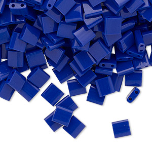 bead, tila, glass, opaque cobalt, (tl414), 5mm square with (2) 0.8mm holes. sold per 40-gram pkg.