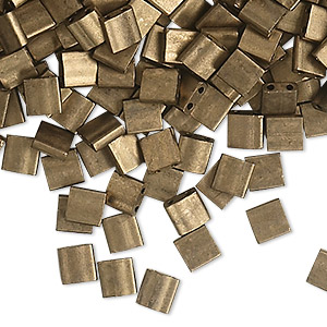 bead, tila, glass, opaque matte metallic dark bronze, (tl2006), 5mm square with (2) 0.8mm holes. sold per 250-gram pkg.