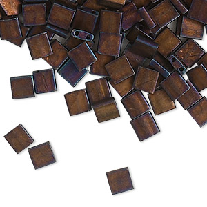 bead, tila, glass, opaque matte metallic dark raspberry, (tl2005), 5mm square with (2) 0.8mm holes. sold per 250-gram pkg.