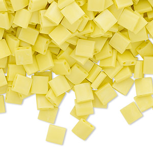 bead, tila, glass, opaque matte rainbow yellow, (tl404fr), 5mm square with (2) 0.8mm holes. sold per 40-gram pkg.