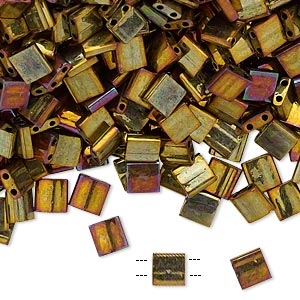 bead, tila, glass, opaque metallic rainbow golden, (tl462), 5mm square with (2) 0.8mm holes. sold per 10-gram pkg.