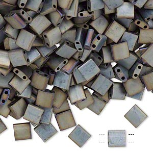 bead, tila, glass, opaque metallic silver-grey, (tl2002), 5mm square with (2) 0.8mm holes. sold per 40-gram pkg.