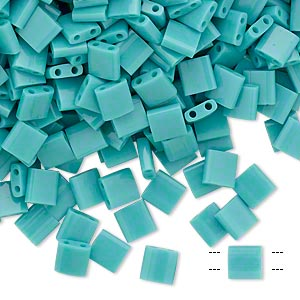 bead, tila, glass, opaque mint green, (tl412), 5mm square with (2) 0.8mm holes. sold per 10-gram pkg.