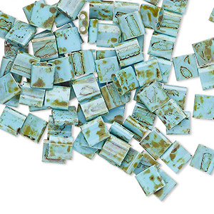 bead, tila, glass, opaque picasso antique turquoise blue, (tl4514), 5mm square with (2) 0.8mm holes. sold per 10-gram pkg.