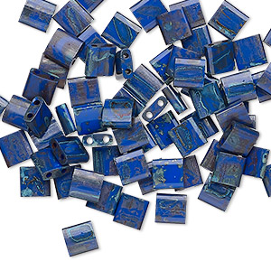 bead, tila, glass, opaque picasso cobalt, (tl4518), 5mm square with (2) 0.8mm holes. sold per 10-gram pkg.