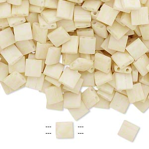 bead, tila, glass, opaque satin matte ivory, (tl2021), 5mm square with (2) 0.8mm holes. sold per 10-gram pkg.
