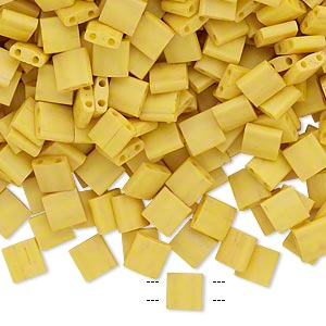 bead, tila, glass, opaque satin matte rich yellow, (tl2311), 5mm square with (2) 0.8mm holes. sold per 250-gram pkg.